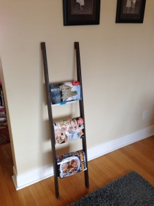 """""""The ladder"""" now repurposed as a magazine rack."""